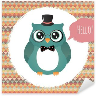 Sticker - Pixerstick Vector Hipster Owl greeting card design illustration
