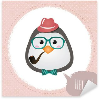 Sticker - Pixerstick Vector Hipster Penguin greeting card design illustration