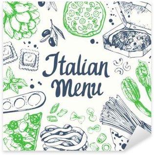 Pixerstick Sticker Vector illustratie met pasta machine, pasta, ravioli. Schetsontwerp.