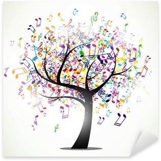 Sticker Pixerstick Vector Illustration d'un fond abstrait avec des notes de musique