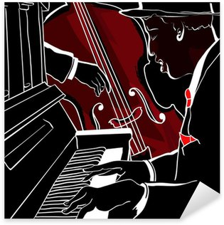 Pixerstick for All Surfaces Vector illustration of a Jazz piano and double-bass