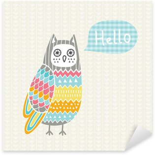Sticker - Pixerstick Vector illustration with colorful owl