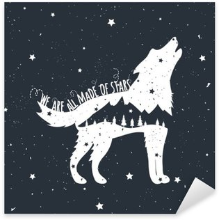 Sticker - Pixerstick Vector illustration with howling wolf, mountains and trees