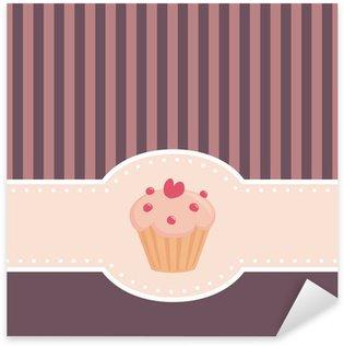 Pixerstick Sticker Vector kaart of uitnodiging met muffin cupcake en hart