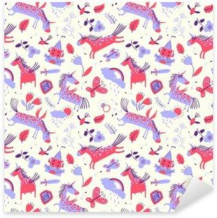 Pixerstick Sticker Vector leuke bloemen naadloos patroon met magische eenhoorns