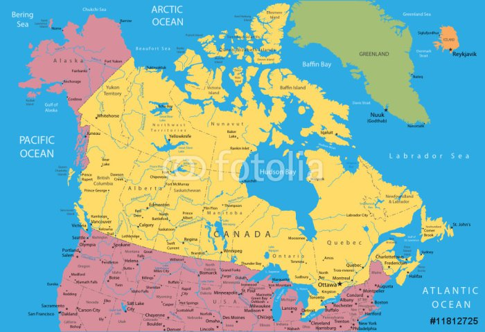 Vector Map Of Canada And Alaska Sticker Pixerstick Pixers - Map of canada and alaska
