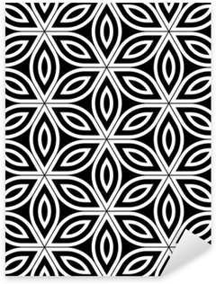 Sticker - Pixerstick Vector modern seamless sacred geometry pattern , black and white abstract geometric flower of life background ,wallpaper print, monochrome retro texture, hipster fashion design