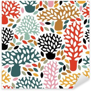 Sticker - Pixerstick Vector multicolor seamless pattern with hand drawn doodle trees. Abstract autumn nature background. Design for fabric, textile fall prints, wrapping paper.
