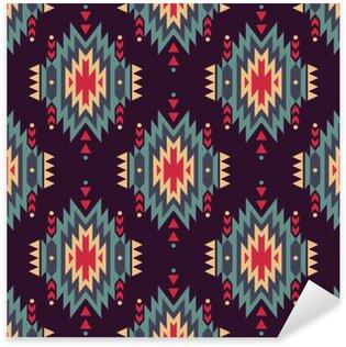 Pixerstick Sticker Vector naadloze decoratieve etnische patroon. Amerikaanse Indische motieven. Achtergrond met Azteekse tribale ornament.