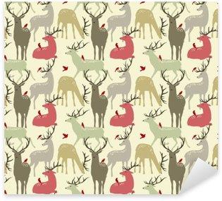 Pixerstick Sticker Vector naadloze patroon met herten en vogels
