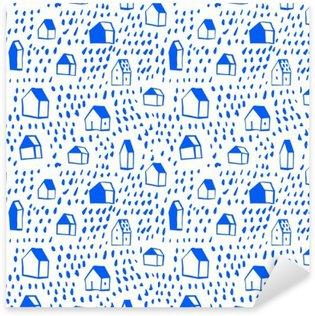 Pixerstick Sticker Vector naadloze patroon met huizen.