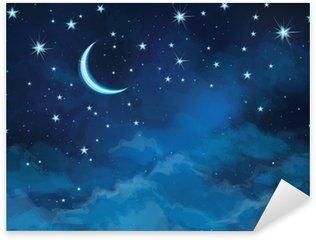 Sticker - Pixerstick Vector night sky background stars and moon.