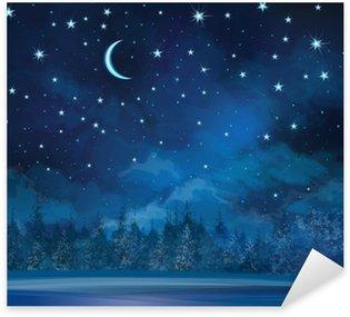 Sticker - Pixerstick Vector night winter scene, sky and forest background.
