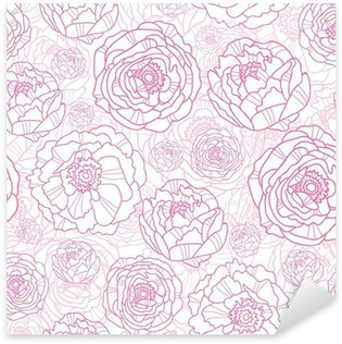 Pixerstick Sticker Vector roze lijn kunst bloemen elegante naadloze patroon achtergrond