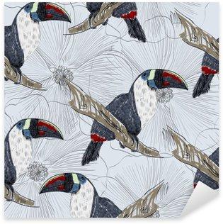 Pixerstick Sticker Vector schets van een papegaai met bloemen. Hand getrokken illustratie