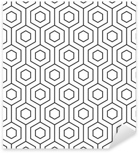 Sticker - Pixerstick Vector seamless pattern. Modern stylish texture. Monochrome geometric pattern. The grille with hexagonal tiles.