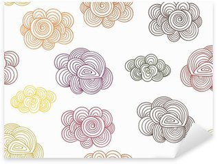 Sticker Pixerstick Vector Seamless Pattern with Autumn Doodle Clouds
