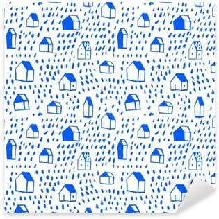 Vector seamless pattern with houses Sticker - Pixerstick
