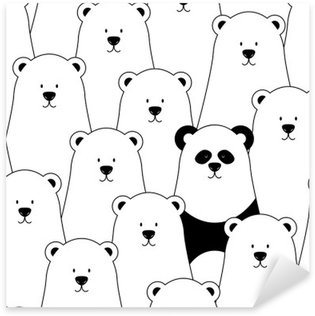 Vector seamless pattern with white polar bears and panda Pixerstick Sticker
