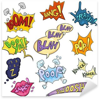 Sticker Pixerstick Vector Set of Cartoon Comics Phrases et effets.