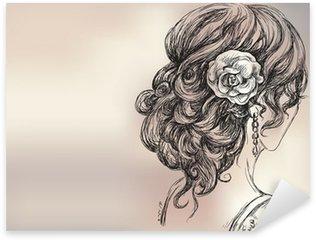 Pixerstick Sticker Vector tekening van een mooi meisje, bruidskapsel