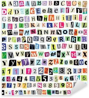 Sticker Pixerstick Vectorielle Ransom Letters note de papier-Cut, chiffres, symboles