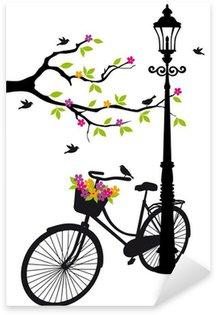 Sticker Pixerstick Vélo avec lampe, des fleurs et des arbres, vecteur