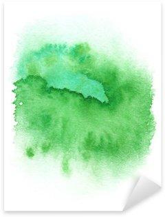 Sticker Pixerstick Vert clair peinture ronde splash peint à l'aquarelle sur fond blanc propre