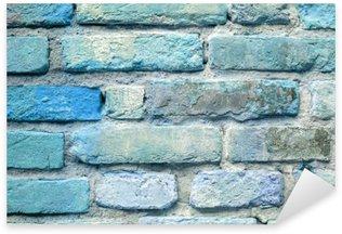 Sticker Pixerstick Vieille brique fond de mur bleu