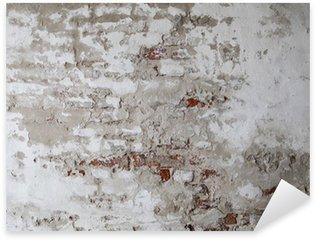 Sticker Pixerstick Vieux mur de brique rouge avec le béton fissuré