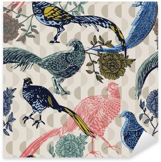 Pixerstick Sticker Vintage achtergrond met vogels en bloemen, mode patroon