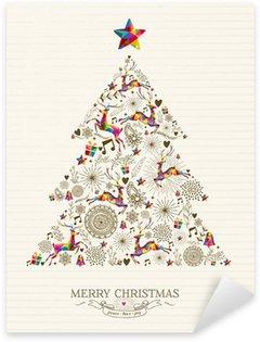 Sticker Pixerstick Vintage arbre carte de voeux de Noël