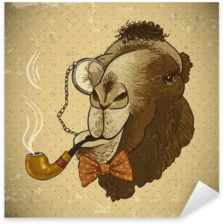 Sticker - Pixerstick Vintage Card Hipster Animal Camel with pipe