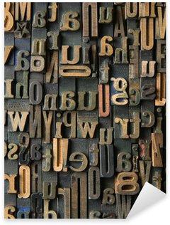 Sticker Pixerstick Vintage composition des lettres en bois