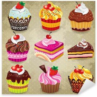Pixerstick Sticker Vintage cupcake set