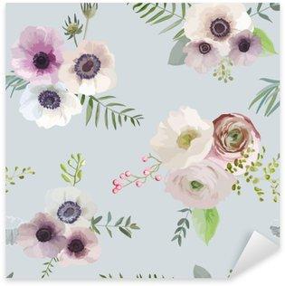 Pixerstick Sticker Vintage Floral Achtergrond - naadloos patroon - in vector