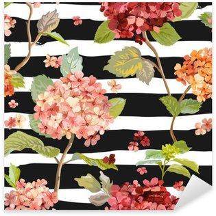 Pixerstick Sticker Vintage Flowers - Floral Hortensia Achtergrond - Naadloos Patroon
