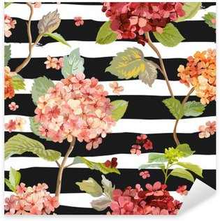 Sticker Pixerstick Vintage Flowers - Floral Hortensia Background - Motif continu