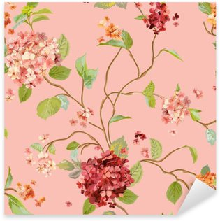 Sticker Pixerstick Vintage Flowers - Floral Hortensia Background - Motif continu