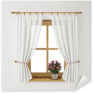 Sticker Pixerstick Vintage frame de fenêtre en bois avec rideau et pot de fleurs