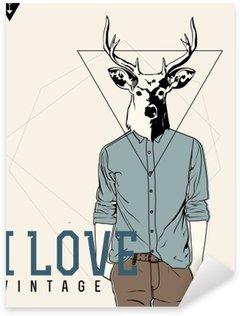 Sticker - Pixerstick Vintage-Hipster Fashion Deer Illustration