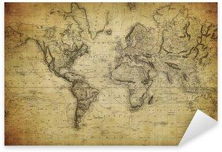 Pixerstick Sticker Vintage kaart van de wereld 1814 ..