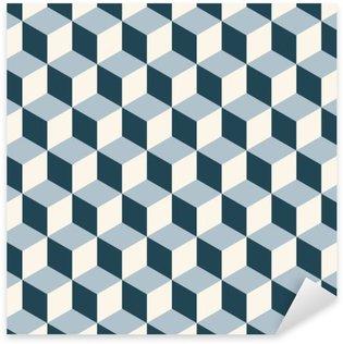 Pixerstick Sticker Vintage kubussen 3d patroon achtergrond. Retro vector patroon.