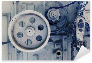 Pixerstick Sticker Vintage machine mechanisme bij fabriek