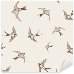 Sticker - Pixerstick vintage pattern with white little swallows