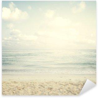 Sticker Pixerstick Vintage plage tropicale en été