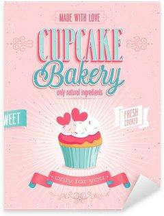Pixerstick Sticker Vintage Poster Cupcake. Vector illustratie.