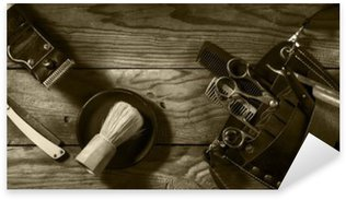 Vintage set of Barbershop.Toning sepia Pixerstick Sticker