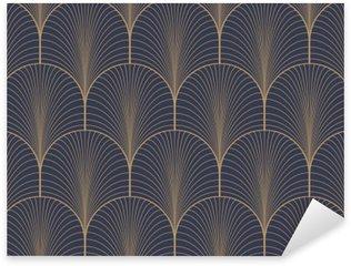 Pixerstick Sticker Vintage tan blauw en bruin naadloze art deco achtergrond patroon vector