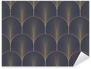 Sticker - Pixerstick Vintage tan blue and brown seamless art deco wallpaper pattern vector